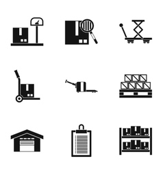 Warehouse icons set simple style vector