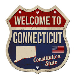 Welcome to connecticut vintage rusty metal sign vector