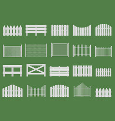 white fences wooden fences garden or house wood vector image
