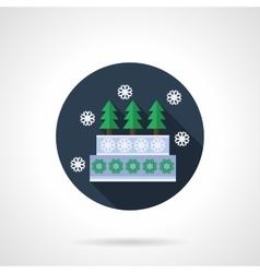 Winter pie blue round flat icon vector image