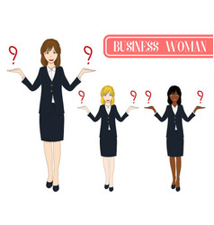 business woman selection with happy face vector image