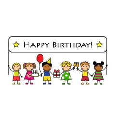Cartoon kids with a banner birthday vector image