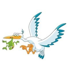 stork bird and frog vector image
