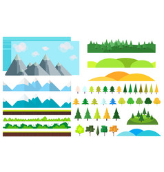 trendy set of different flat elementstrees vector image