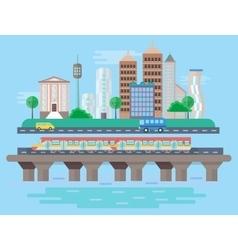 Urban modern city landscape flat concept vector image vector image