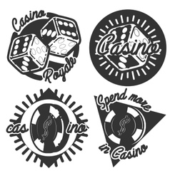 Vintage casino emblems vector image
