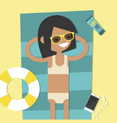 Young female character lying on the beach top vector