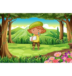 A pupil in the middle of the forest vector image