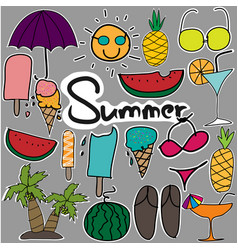 cute stickers hand drawn doodle summer set vector image vector image