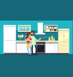 happy couple cooking in kitchen vector image
