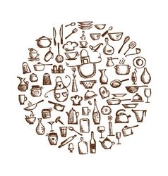 Kitchen utensils sketch drawing vector image vector image