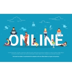 Online addiction concept vector image vector image