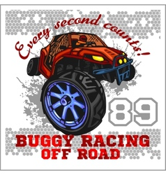 Dune buggy riders - off road badge vector image