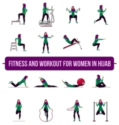 Muslim aerobic icons 4x4 full color vector image