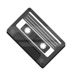 Audio cassette icon in monochrome style isolated vector image