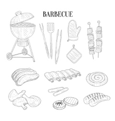 Barbecue Related Isolated Items And Food Hand vector image vector image