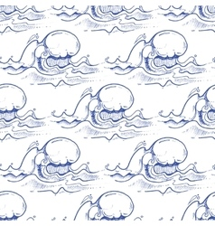 Blue hand drawn waves seamless pattern vector image vector image