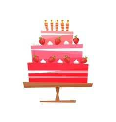 Cake with cream berries vector image vector image