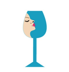 Pretty lady in a glass- beverage business logo vector image