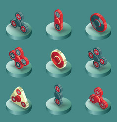 spinners color isometric icons vector image vector image