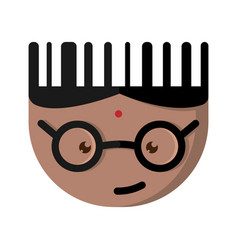 The indian cartoon character with glasses vector