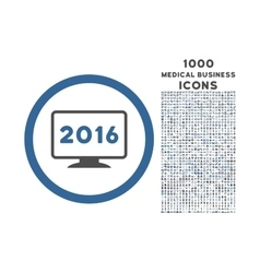 2016 Display Rounded Icon with 1000 Bonus Icons vector image