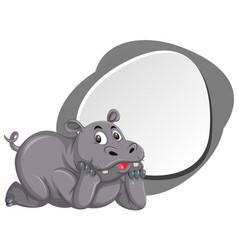 A cute hippopotamus banner vector