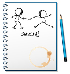 A notebook with a sketch of two people fencing vector