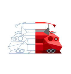 abstract sports car line design drawing half vector image
