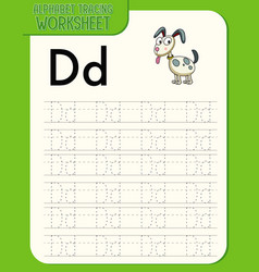 Alphabet tracing worksheet with letter d and d vector