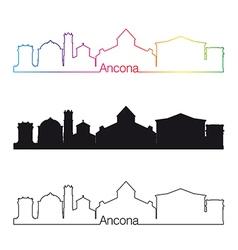 Ancona skyline linear style with rainbow vector image