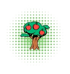 Apple tree comics icon vector