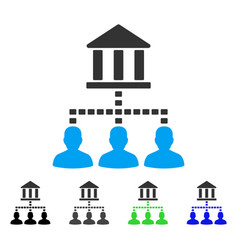 Bank building client links flat icon vector