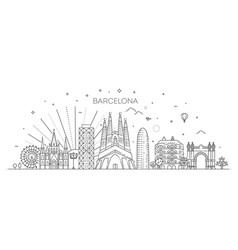Barcelona skyline spain vector