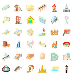 Big construction icons set cartoon style vector