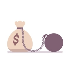 Big money sack on a metal chain with weight vector image