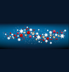 blue snowflakes stars and baubles vector image