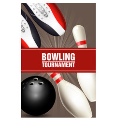 Bowling tournament poster with bowling shoes vector