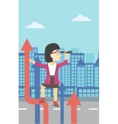 Businessman woman with spyglass on rising arrow vector