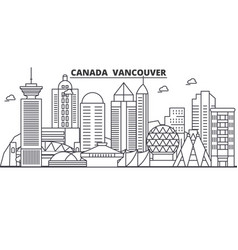 Canada vancouver architecture line skyline vector