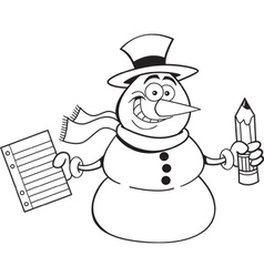 Cartoon snowman holding a paper and pencil vector image