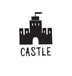 Castle icon doodle castle building with tower vector