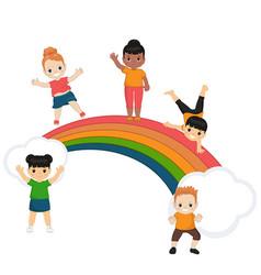children and rainbow children and rainbow vector image