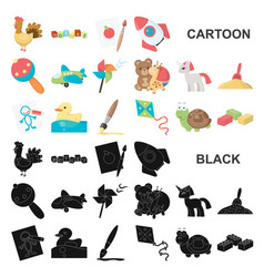 Children toy cartoon icons in set collection for vector