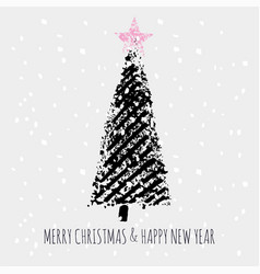 christmas tree stamp snow slogan merry christmas vector image