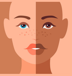 Combined woman portrait with symmetric half faces vector