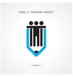 Creative pencil and people icon vector