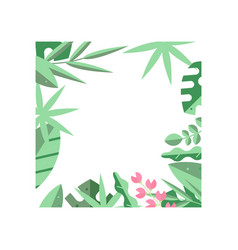 Creative square frame of green tropical leaves and vector