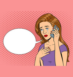 crying girl with phone pop art vector image