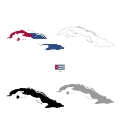 Cuba country black silhouette and with flag on vector